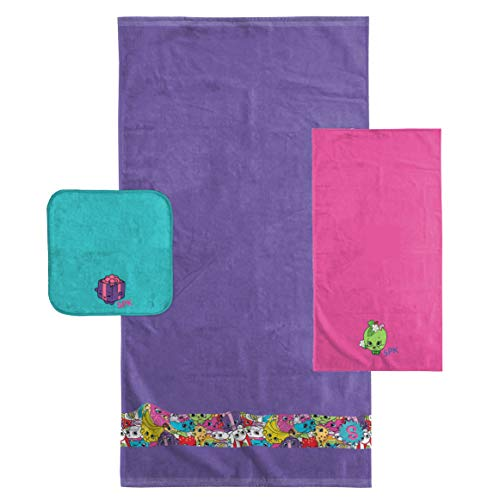 Shopkins Kids 3 Piece Bath Towel Set – Bath, Hand, Washcloth Set Featuring Apple Blossom and Miss Pressy - Super Soft & Absorbent Fade Resistant Cotton Towels (Official Shopkins Product)