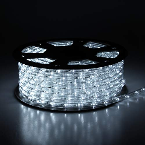 Buyagn 150Ft LED Rope Lights,Cuttable & Connectable LED Rope Lights Outdoor Waterproof Decorative Lighting for Indoor/Outdoor,Eaves,Backyards Garden,Party and Bedroom Decorations(Cold White)