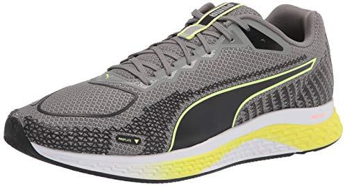 PUMA Men's Speed 500 2 Running Shoe, Ultra Gray Black-Fizzy Yellow, 8
