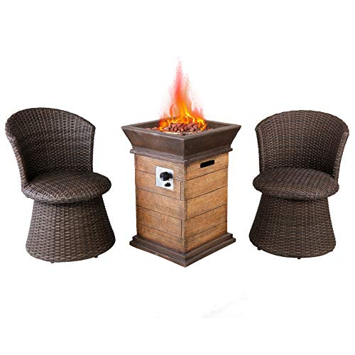 Casual World 19 inch Outdoor Propane Fire Pit Table Set with 2 Wicker Swivel Stool Chairs, 40000 BTU Patio Gas Fire Pit Table with ETL Certification, Lava Rocks and PVC Rain Cover