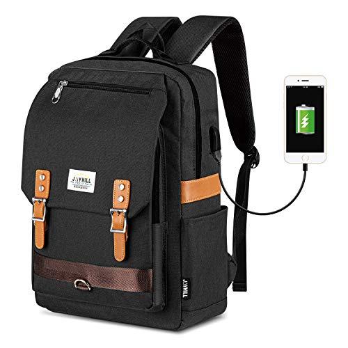 Laptop Rucksack Herren Damen, Vintage Jugendliche Schulrucksack mit USB-Ladeanschluss für Arbeit Schule Universität Schwarz