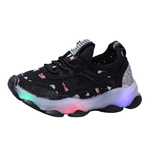 Deloito Kinder Sneaker Babyschuhe Mädchen Freizeit Schmetterling Kristall Turnschuhe Kinder Mesh Atmungsaktive Laufschuhe LED Leuchtende Sportschuhe (Schwarz,27 EU)
