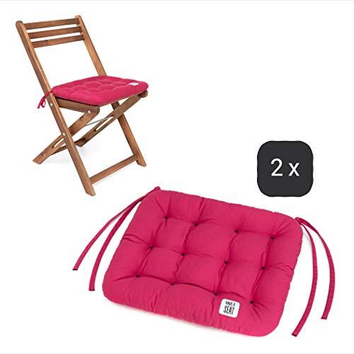 HAVE A SEAT Luxury - Sitzkissen 40x35 cm - Bequeme Sitzpolster für Klappstühle, Balkonstühle, Balkon-Set - waschbar bis 95° C, UV-Schutz - Made in Germany (2er Set - 40x35 cm, Hot Pink)