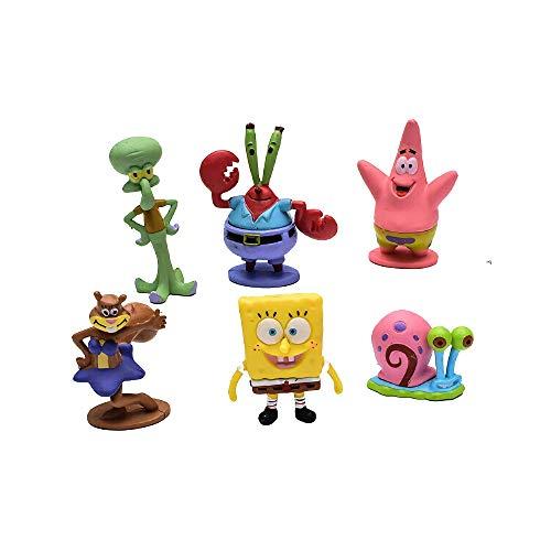 HAHL Aquarium-Dekoration, Terrarium, Fischbecken, Cartoon-Schmuck, Figur, Bikini, Unterteil, Schwamm, Baby-Tintenfisch, Patrick (SpongeBob 6 Set)