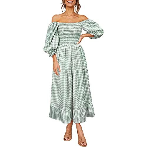 Damklänningar volanger axelfritt rutnät tryckt kortärmad elegant sommarklänning Swing Midi klänningar med bälte, Grön, L