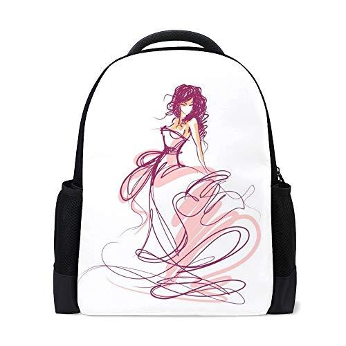 Chehong Rucksack, schöne Braut in einem Hochzeitskleid, bunt, Reisen, Laptop, Tagesrucksack, Schultasche, Polyester, mehrere Taschen, leicht, verstaubar, Teenager, Frauen