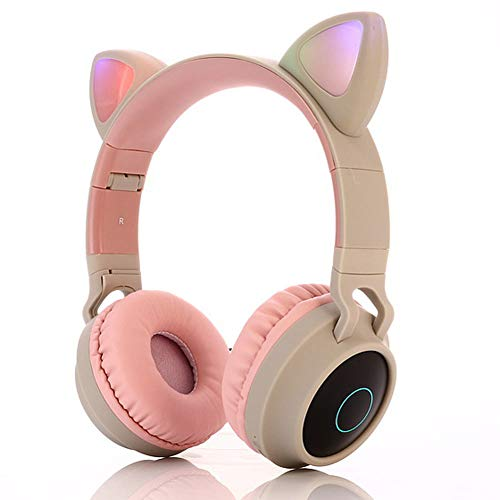 HDJX Draadloze kat oor lichtgevende oortelefoons, koptelefoon Bluetooth LED licht oortelefoons, subwoofer draadloze oortelefoons, muziek oortelefoons, geschikt voor gaming, pc, smartphone, size, E