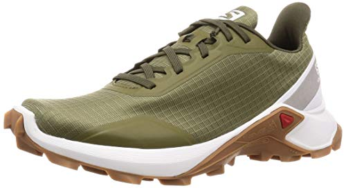 Salomon ALPHACROSS W, Zapatillas de trail running para Mujer, Verde (Burnt Olive/White/Gum1a), 37 1/3 EU
