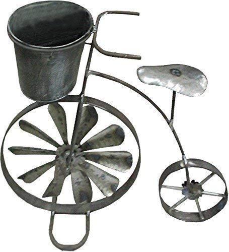 Blumenfahrrad mit Topf in Edelstahloptik mit Windrad im Rad
