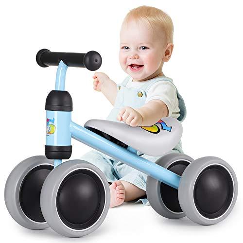 Hadwin Kinder Laufrad ab 1 Jahr, Baby Lauflernrad mit 4 Räder ohne Pedale, Kleinkind Balance Fahrrad Spielzeug, Geschenk für Ersten Geburtstag, Jungen Mädchen 10 – 24 Monaten, Blau