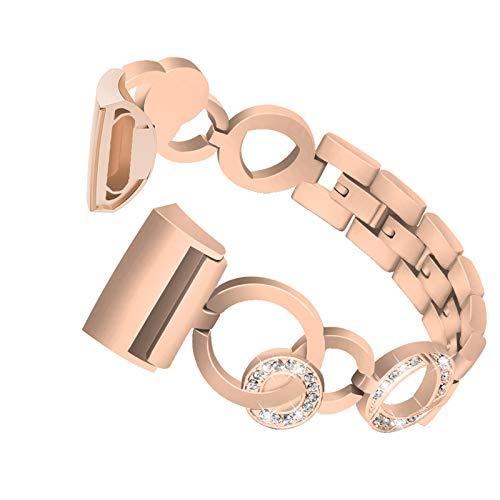 XIALEY Correa De Repuesto Compatible con Fitbit Charge 3 / Charge 4, Pulsera De Metal con Purpurina De Diamantes De Imitación, Banda Deportiva para Charge 3 / Charge 4 Fitness Tracker,Rose Gold