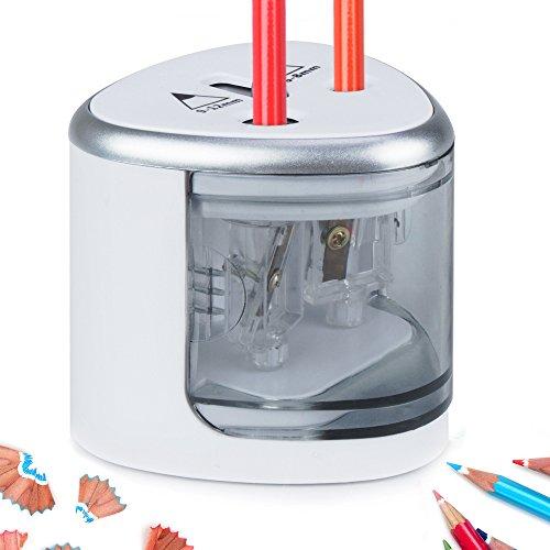 MEIDI Taille-crayon Électrique, Taille-Crayon Mécanique à Piles Avec Taille-Crayon de Bureau Compact à Deux Trous Idéal Pour Crayon Numéro Deux, Crayons de Couleur, Crayons à Sourcils (Argent)