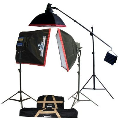 Britek#FK4000B Professional Photography Fluorescent Lighting Kit with Boom Stand+2 Fluorescent Light Bank+2 Softbox+16 Fluorescent Lamp+1 Cool Light Holder+1 Fluorescent Lamp+2 Giant Light Stand+1 Studio Boom stand+3 Carrying Bag