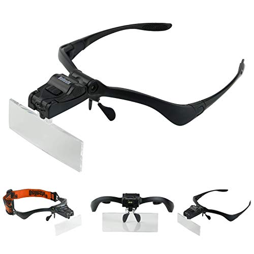 Beileshi Headhand Magnifier Glasses With 2 LED Professional Jeweler's Loupe Light Bracket and Headband are Interchangeable 5Lens Glass Magnifying Visor