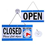 Business Hour Open Closed Sign – Bundle of Office Hours Sign Will Return Clock with Suction Cups for Door Window Businesses Stores Restaurants Bars Retail Barbershop Salon Shops (Open/Close Sign)