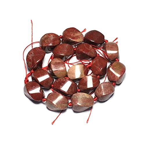 Gema natural de jaspes de cristal rosa diseño único en forma de espiral de cuentas de piedra para hacer joyas de bricolaje pulsera, collar de 15 x 20 mm jaspe rojo tiene 17 piezas