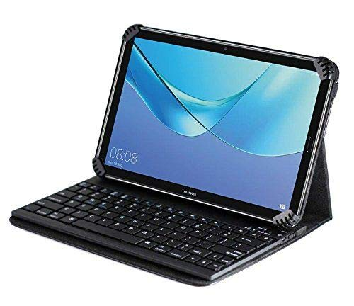 Navitech Folding Leather Folio Case Cover & Stand With Removable Bluetooth Keyboard Compatible With The Samsung Galaxy Tab A 8' | Samsung Galaxy Tab Active 2 8.0'