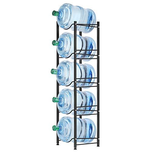 Liheya Wasser Kühler Rack 5 Etagen für fünf 5-Gallonen Wasserflaschen, Wasserflaschenhalter für Büro, Aufbewahrungsregal in Küche, kompakt elegant schwarz