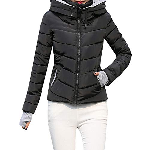 SEWORLD Winterjacke Damen Wintermantel Lange Daunenjacke Jacke Dicke Oberbekleidung Kapuzenmantel Kurze,38 DE/XL CN