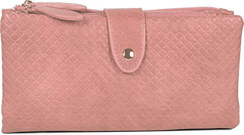 styleBREAKER Damen Portemonnaie mit V-Förmig geprägter Struktur, Druckknopf, Reißverschluss Geldbörse 02040124, Farbe:Altrose