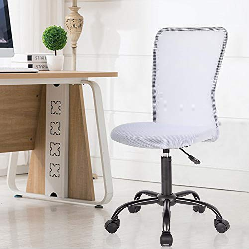 Ergonomic Office Chair with Lumbar Support Mesh Chair with Wheels Rolling Swivel Back Support Adjustable Executive Desk Chair, Modern PC Computer Desk Chair for Home Office Women Men by XXFBag - White