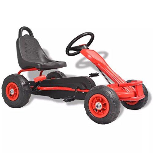 vidaXL Kart a pedais com pneus pneumáticos vermelho