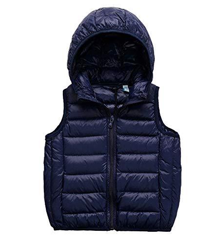 SK Studio Daunen Daunenweste Ärmellos Kinder Ultra Leichte Winter Jacke Weste Jungen Maedchen Stil 1 Navy 120cm / 4-5 Jahre