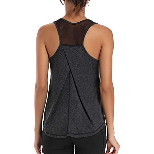 Gofodn Camisola Mujer Ladies Vest Tops Women Gym Sports T Shirts Solid Plus Size Sleeveless Racerback Workout Mesh Sports Tank Tops