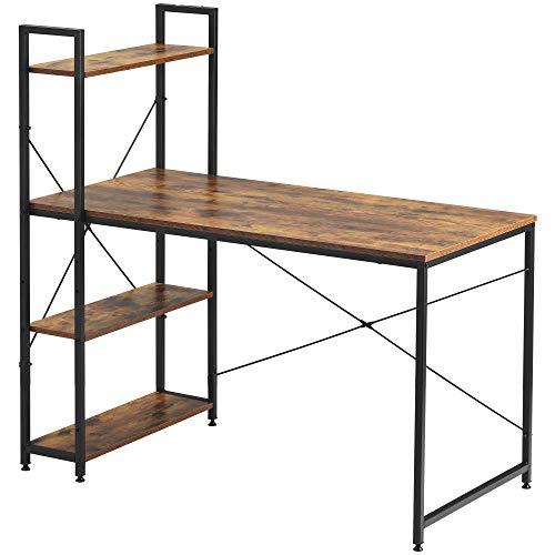 Escritorio de ordenador con 4 estantes de almacenamiento mesa de estudio con estantería para espacios pequeños en casa, oficina, estación de trabajo, color marrón rústico