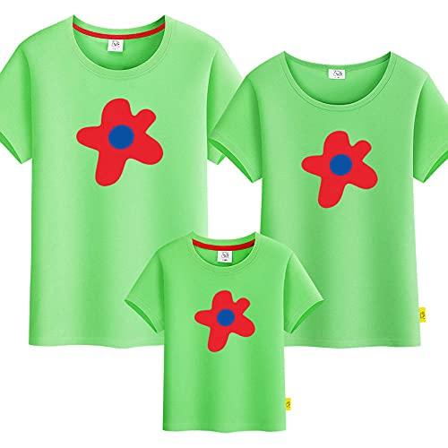 SANDA T-Shirt Hombre,Padre-niño Flores Flores Verano Nueva Camiseta para Padres y niños de Manga Corta-Verde_Niños 110