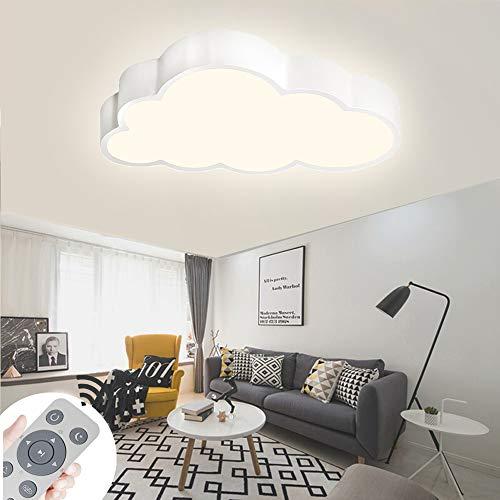 ZPRIO 64W Lámpara De Techo LED De Nubes Regulables Luz De Techo Lámpara De Luces De Sala De Estar Lámpara De Dormitorio Con Control Remoto,Regulable (3000-6500K)Con Mando Distancia (64W Concha Blanca)