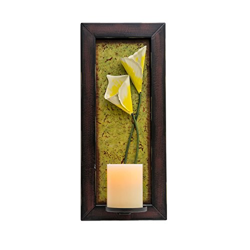 Candle Impressions Floral Wall Sconce with Real Wax Flameless Candle Included