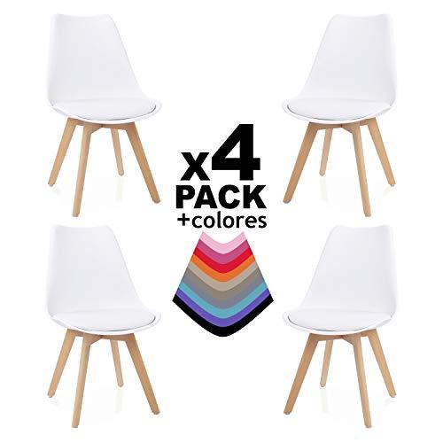 duehome Bench Pack de 4 sillas, Madera de Haya, 49 x 53.5 x 83 cm, Blanco