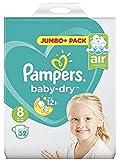 Pampers tamaño 8 bebé jumbo seco + pack de 52