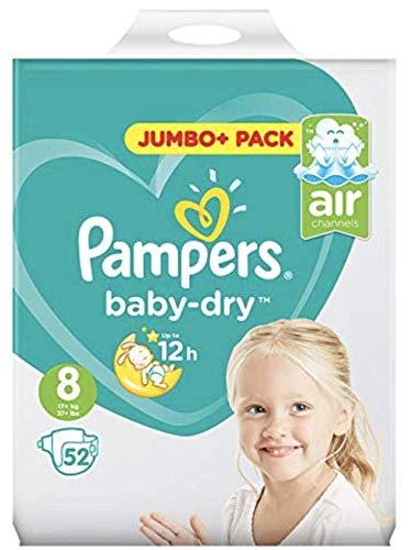 Größe 8 Baby Dry Jumbo + Packung mit 52 Stück
