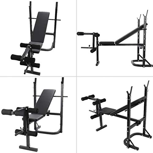 HUZONG Foldable Olympic Workout Weight Bench with Squat Barbell Rack, Adjustable Press Incline Bench, Preacher Pad, Leg Extension, Strength Training Weightlifting Fitness Equipment for Home/Office/Gym