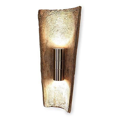 Wandstrahler Up & down Terracotta mit Dachziegel + Leuchtmittel 2x GU10   Außen-Leuchte mediterran Stein & Edelstahl   Gartenbeleuchtung Schutzart IP44   Außenwand-Lampe dimmbar