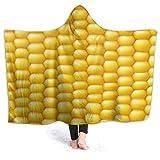 KENDIA Manta con Capucha para Hombre de maíz Amarillo, Sudadera con Capucha de Franela súper Suave para Usar (50 * 40 Pulgadas)