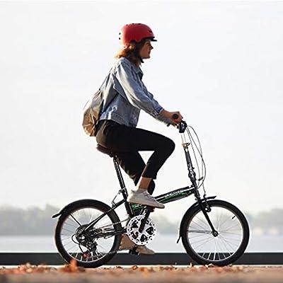 Adult Folding Bike, 20-Inch Wheels, 7-Speed Drivetrain, Rear Carry Rack, Carrying Bag, Wheel Double Disc Brake Full Suspension Anti-Slip MTB Mini Lightweight Foldable Compact Bicycle (Black)