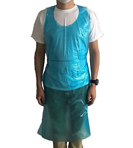 使い捨てエプロン ビニールエプロン ポリエチレン製 袖なし 100枚 セット 介護用 医療現場使用中 青色