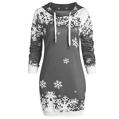 YWLINK Weihnachten Schalkragen Warm Mode Damen Tunika UnregelmäßIg Schneeflocke Drucken Retro Minikleid Festival Karneval Bodycon