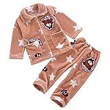 DEBAIJIA Enfant Vêtements de Maison 0-12T Bébé Pyjamas Bambin Sleepsuit Garçon Vêtements de Nuit Fille Flanelle Unisexe Ensembles (Marron-16)