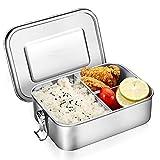 O-Kinee Lunch Box Stainless Steel Bento Box, Brotdose Lunchbox Edelstahl, Metal Dense Lunch Box Rostfreier Stahl Auslaufsicher vesperbox mit 3 Fächern Dishwasher Safe für Kinder und Erwachsene