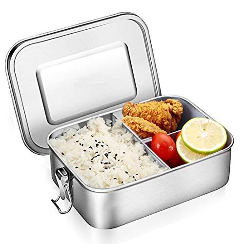 O-Kinee Edelstahl Brotdose, Auslaufsicher Bento Box, Brotdose Lunchbox, Metal Dense Lunch Box, Nachhaltig Rostfreier Stahl mit 3 Fächern Dishwasher Safe für Kinder und Erwachsene
