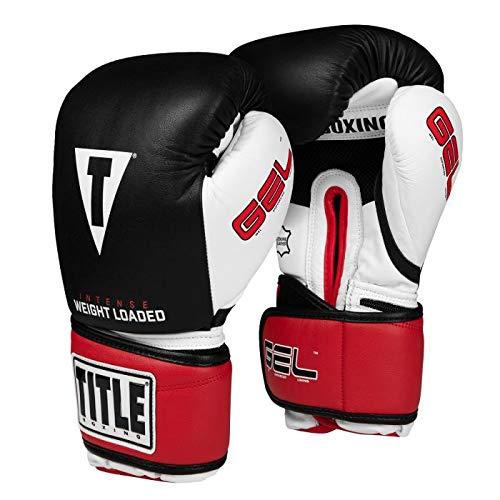 Title Boxing Gel Intense Weight Loaded Bag Gloves, Black/Whtie/Red, Regular