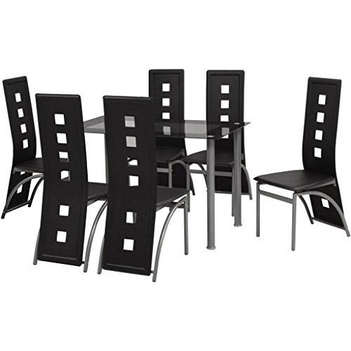 Festnight 7tlg. Essgruppe mit 1 Esstisch + 6 Essstühle Esszimmergruppe Küchentisch Küchenstuhl Schwarz