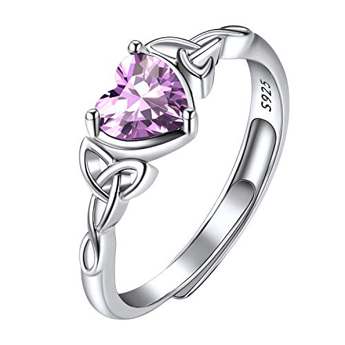 Alexandrite Ring Sterling Silver, Good Luck Celtic Love Knot Irish Triquetra Ring, Minimalist Birthstone Ring, Heart Shaped June Birthstone Ring for Women Girls