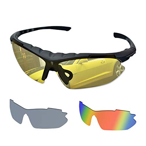 BEDO Mens Sports Sunglasses With 3 Interchangeable Lenses Youth Bike Glasses Half Frame Eyewear Care Packaged
