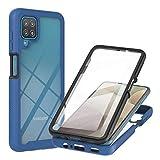 Liner Hülle für Samsung Galaxy A12 / M12, [mit Eingebautem Bildschirmschutz] Durchsichtig Stoßfest Handyhülle Robuste Silikon Schutzhülle Schwer PC & Weich Schlank TPU Bumper Hülle Cover - Blau
