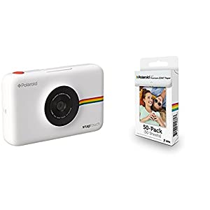 Polaroid Snap Touch cámara digital con impresión instantánea y pantalla LCD (blanco) con tecnología Zero Zink + Polaroid M230 - Pack de 50 papeles fotográficos, color blanco